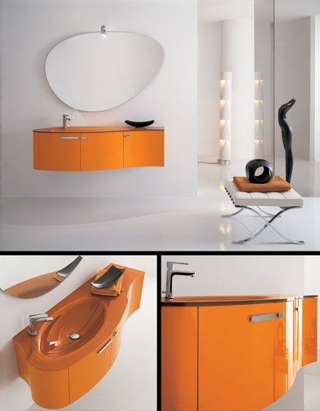 The Luna Orange Bathroom Furniture (1F) by Livinghouse shows great design with 3 handy storage cupboards with soft closing doors and an equally stunning orange glass vanity wash basin / work top.