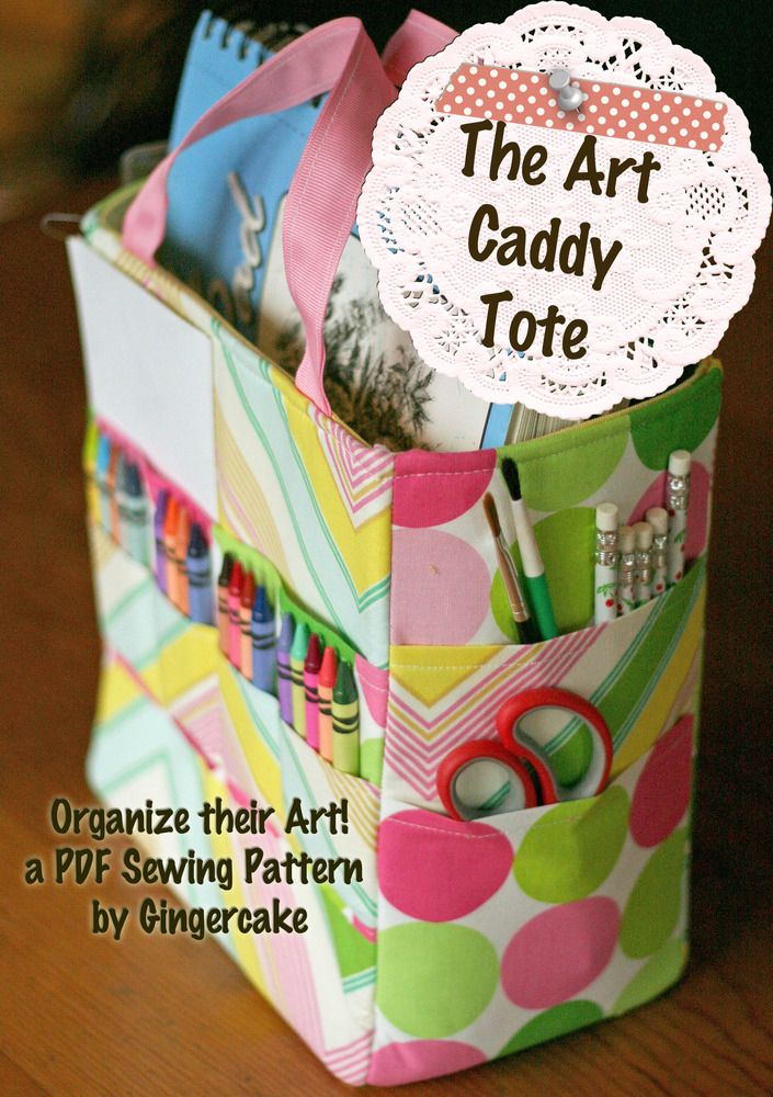Art Caddy Tote  - -PDF Sewing Pattern available.  This looks cute and functional and a great Christmas gift idea for kids (or adults since they could use it for sewing/crafting)