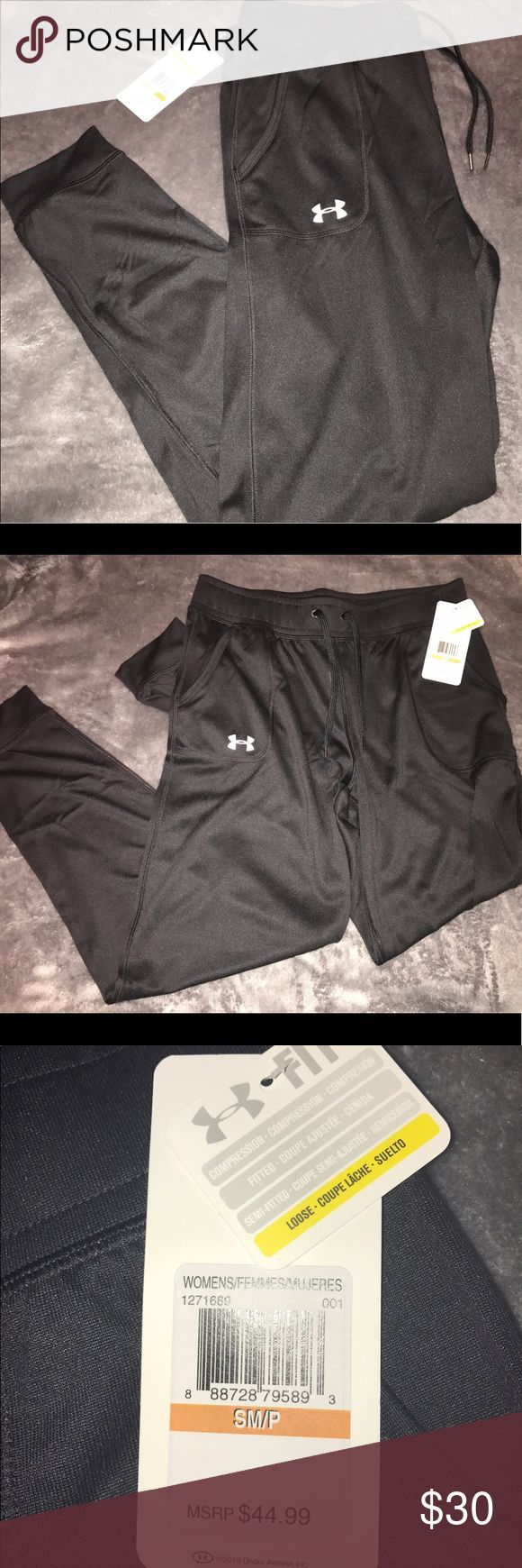 BRAND NEW Under Armor Sweatpants Black Under Armor sweatpants with pockets! They have a tie around the waist and tapered at the bottom pant leg. Dri fit material. Great sweatpants and super comfortable! 🙌🏼 Under Armour Pants