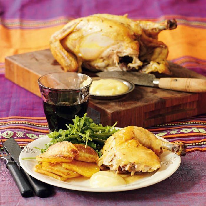 Pluras ugnsstekta kyckling med aioli, stekt potatis och skysås