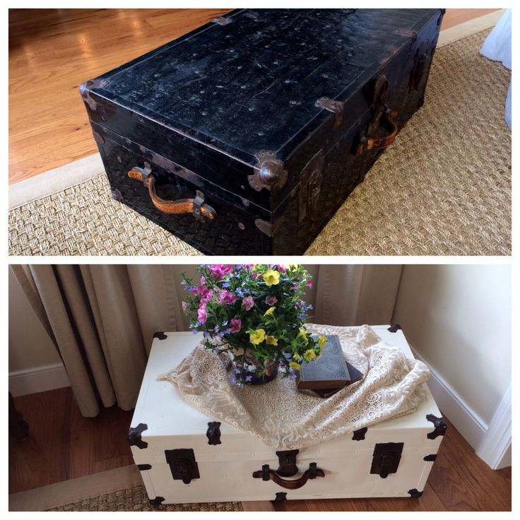 Before & after painting an old trunk