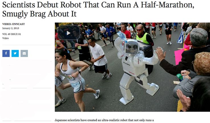 The satirical news site has had some fun with runners over the years.
