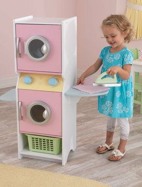 Washer and Dryer Kids Laundry Play Set. Like the kitchens I've pinned, could make this from an old piece of furniture. Fun!