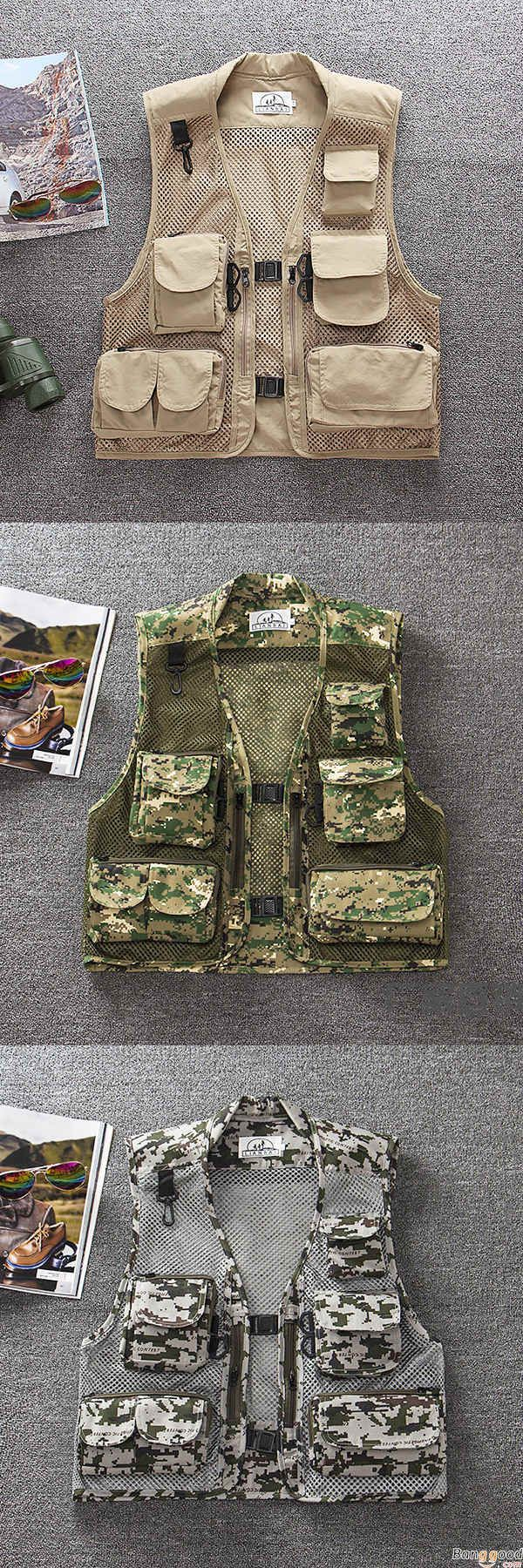 US$35.88 + Free Shipping. Mens Summer Outdooors Mesh Camouflage Solid Color Multi Pocket Fishing Vest Photography Waistcoat. US Size: S - XL. Color: Gray Camo, Green Camo, Navy Blue, Beige. Shop Now.