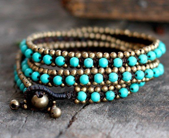 loveee itWraps Bracelets, Style, Wrap Bracelets, Jewelry Bracelets, Beads, Brass, Accessories, Turquoise Bracelets, Handmade Jewelry