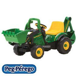John Deere Utility Tractor. 2 1/4 mph on the sidewalk or patio. Operates on hard surfaces only. Front loader scoops lifts and dumps from drivers seat. Manual rear backhoe. The 6-Volt, realistic construction tractor even has adjustable seats.