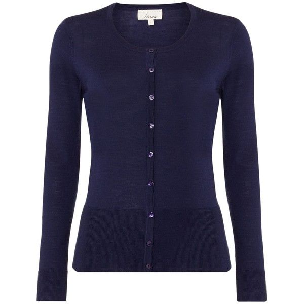 Linea Machine washable merino LS cardigan (£45) ❤ liked on Polyvore featuring tops, cardigans, navy, women, navy cardigan, round top, merino wool cardigan, linea and blue cardigan