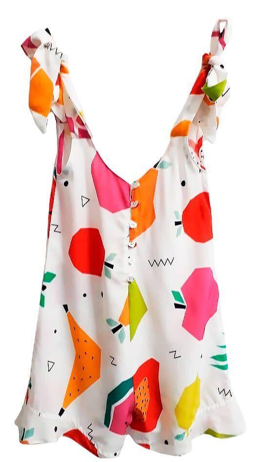 87d5f56c3 Macaquinho infantil feminino das meninas frutas branco | blusas ...