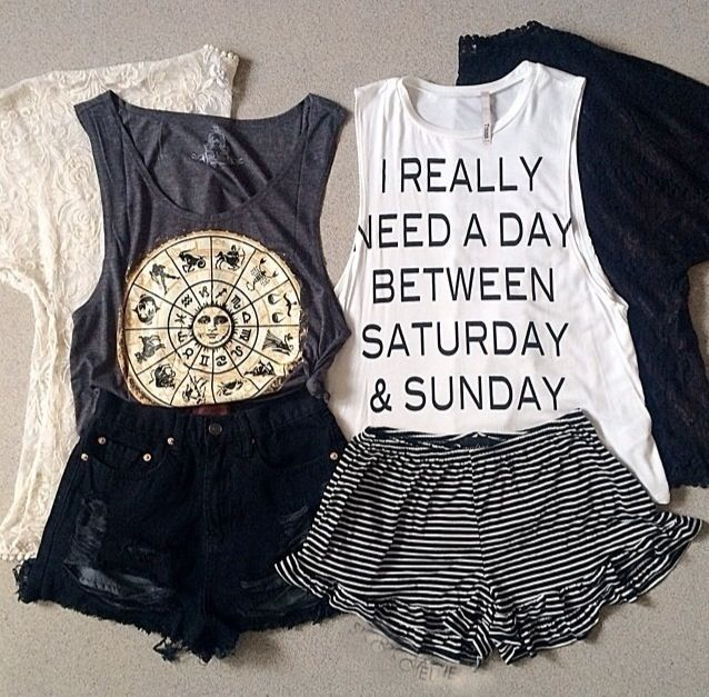 Teenage Fashion Blog: Saturday & Sunday Cute Outfit For Teens (shorts are a little too short tho)