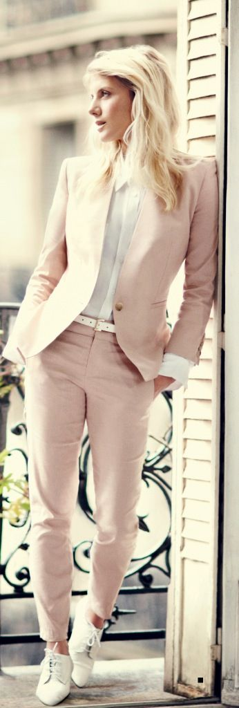 Pantsuit and flat oxfords for a sporty, menswear-inspired look. x