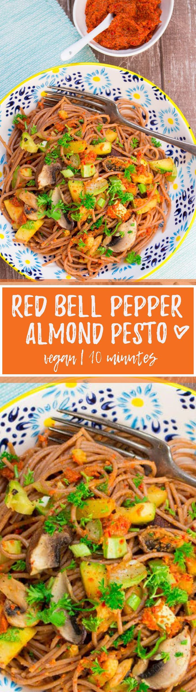 This red bell pepper almond pesto is not only super delicious but also incredibly healthy! Plus, it's vegan and super easy to make. One of my favorite vegan pasta recipes!