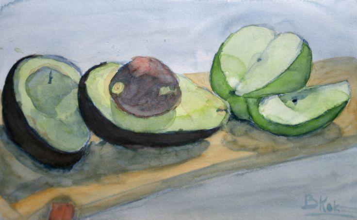 https://flic.kr/p/atDmwd   Aquarelle of an avocado and an apple.   Peter Eurlings open inloop schilderlessen.