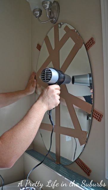 Remove Mirror from Wall  http://www.aprettylifeinthesuburbs.com/our-powder-room-makeover/