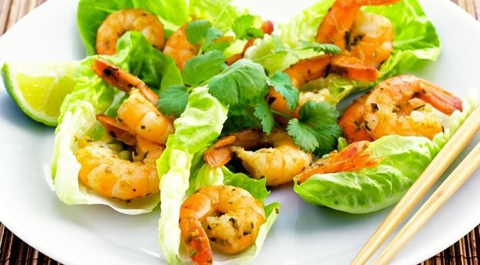 Thai Shrimp With Lettuce And Coriander. Add purple cabbage and red pepper.