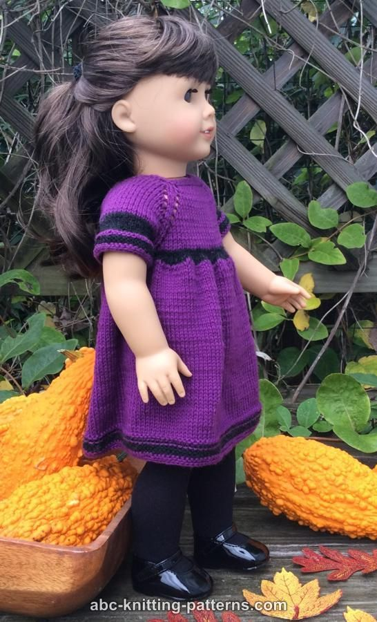 ABC Knitting Patterns - American Girl Doll Night in October Dress