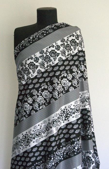Black/White Flower Stripe Satin Fabric