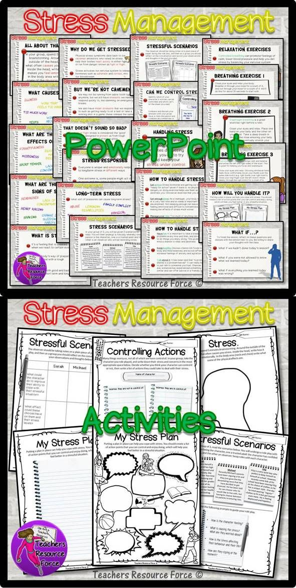 Stress Management for teens: Activities & PowerPoint. These days, students seem to be under so much pressure from testing etc, that it is crucial to teach them management techniques to give them the skills they require in order to handle stress. This Stress Management for Teens Resource which will encourage your students to explore all about modern stressors and how to handle stress in a healthy way.