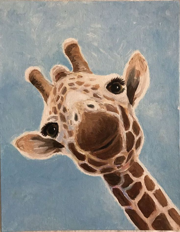 Cutest Giraffe Painting Ever! 11 X 14 Art Class Demo, Acrylic