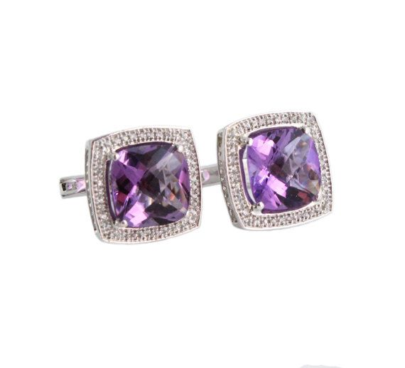 Amethyst cushion cut and white sapphire by SARAHHUGHESfinegems
