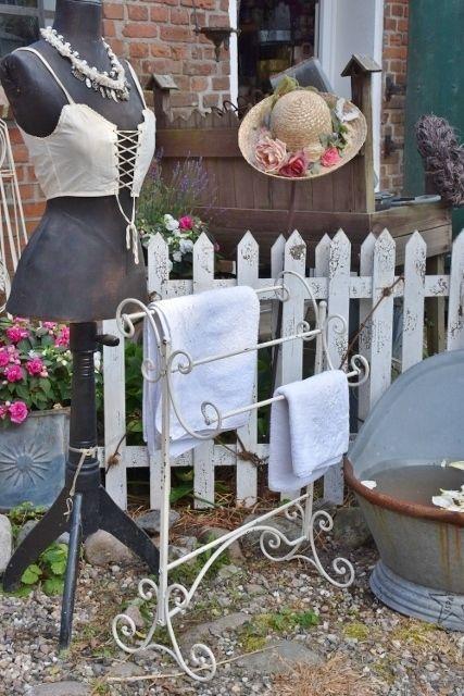 Handtuchhalter, whitewash patiniert, Bad im shabby vintage Stil