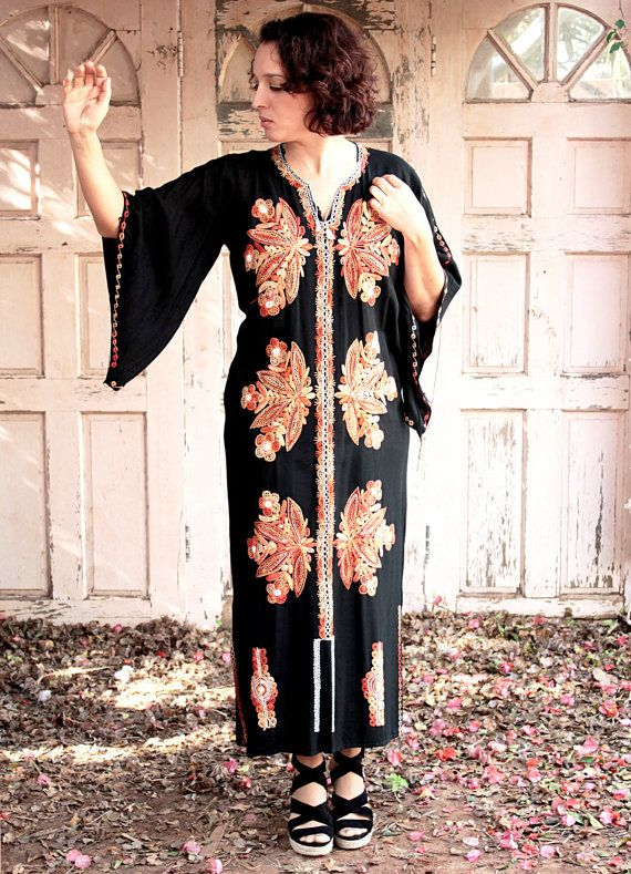 Flaming Long Kaftan Dress Galabiya 60s by YasminEthnicJewelry