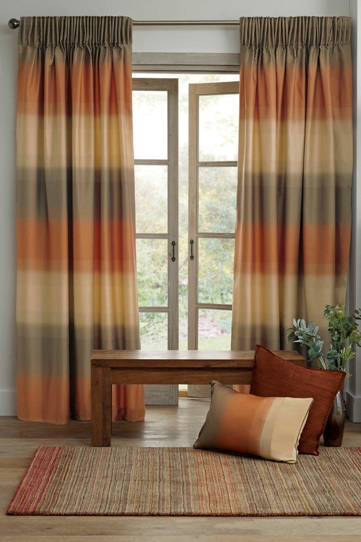 Orange Luxe Ombre Orange Pencil Pleat Curtains