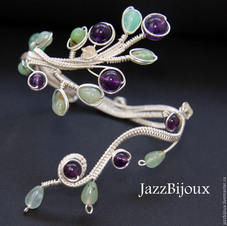 """Купить Браслет """"Черника"""" с аметистом и хризопразом - браслет, плетеный браслет, подарок девушке, нарядный браслет"""