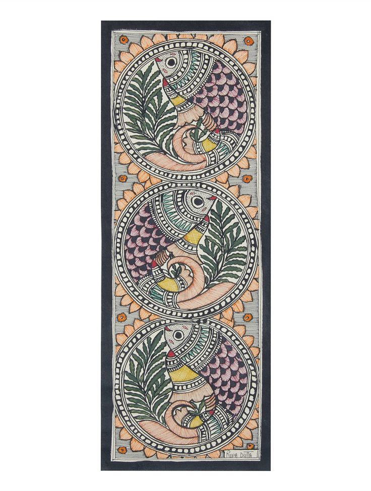 Buy Multi Color Multicolor Fish Madhubani Painting 15in x 5.5in Handmade paper paint Art Decorative Online at Jaypore.com