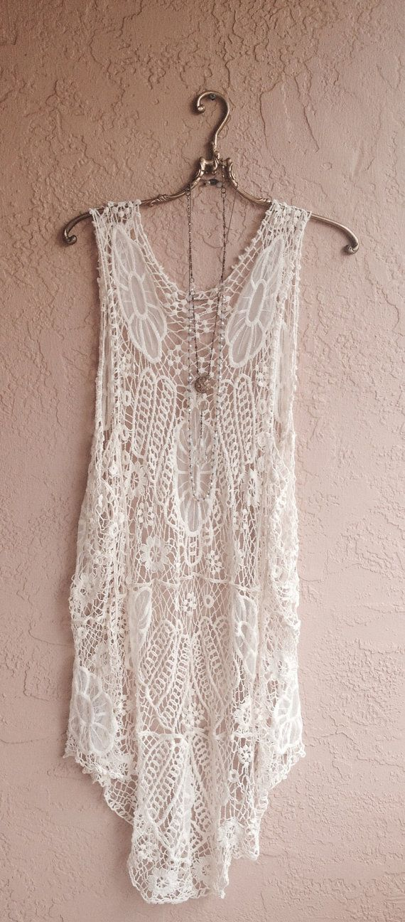 Beach Boho Crochet Kimono vest pool coverup bikini by BohoAngels, $60.00