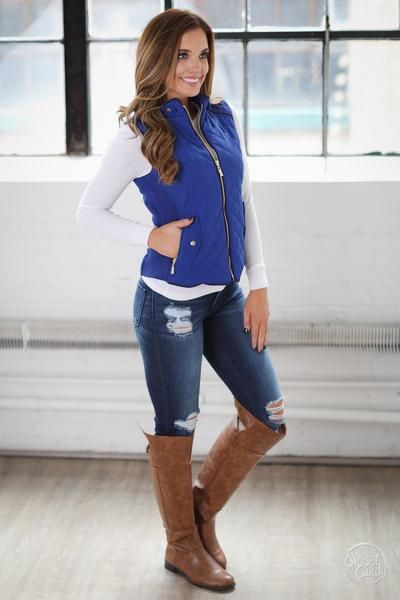 More To Explore Quilted Puffer Vest - Royal Blue