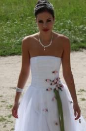 Strapless White Gown with Rosettes