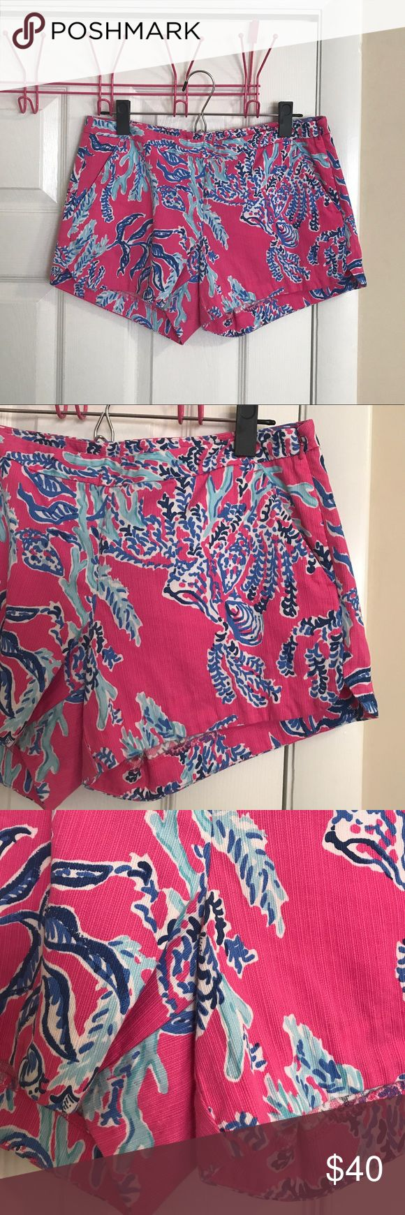 "Lilly Pulitzer Pink Samba Adie Short Lilly Pulitzer Adie Short in Pink Samba. Size 2. Good used condition. Have been worn and washed a few times. Never dried in the dryer. 4"" inseam. No flaws, stains, pulls, etc. They run big IMO. NO TRADES. PRICE IS FIRM. Lilly Pulitzer Shorts"