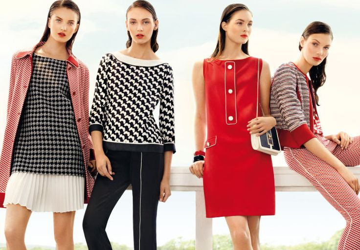 Graphic prints and two-color jacquard. #pennyblack #campaign #graphic #red #pattern