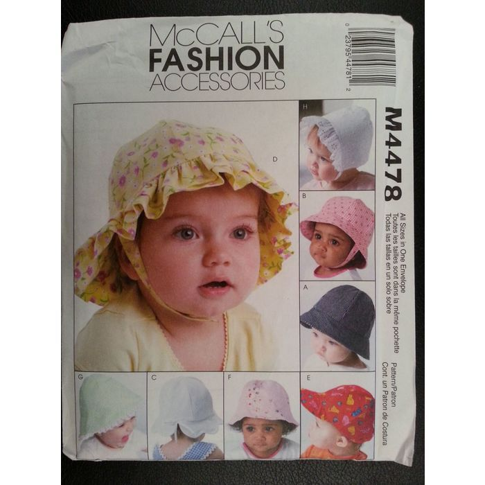 McCalls 4478 Baby / Infant Summer Hats sewing pattern 8 Styles New Uncut Listing in the Childrens,Sewing,Patterns,Sewing,Crafts, Handmade & Sewing Category on eBid Canada | 158675619