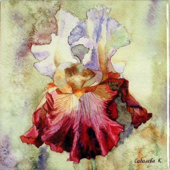 Watercolor Iris Ceramic Tile Wall Art Iris Painting Watercolor Flower Sublimation Tiles Home Decor Floral Picture Art Original Painting