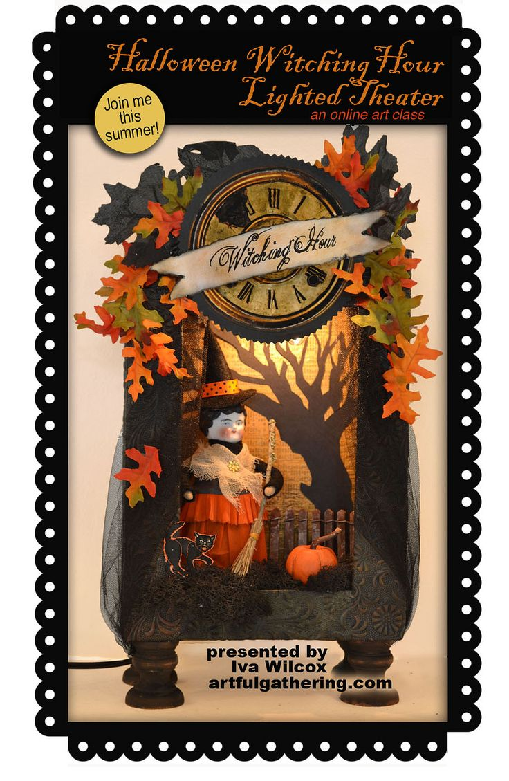 https://flic.kr/p/nqXYtf | Halloween Witch Lighted Theater | Join me this summer for an online workshop: Halloween Witch Lighted Theater, July 16 - August 26. Only at ArtfulGathering.com!