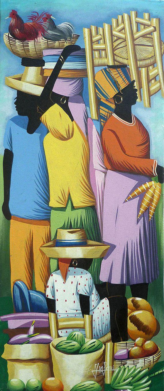 "Haitian Art Canvas Painting - Haitian Market Women - Art of Haiti - Ethnic Art- Original Painting - Caribbean Art, Haitian Art - 12"" x 30"""