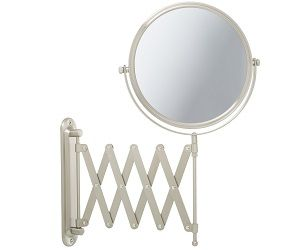 Jerdon Two Sided Swivel Wall Mount Mirror With Magnification Extension Nickel Finish