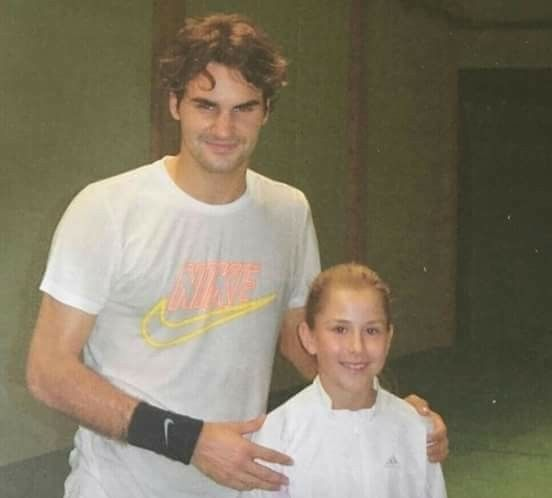 Roger Federer and a young Belinda Bencic