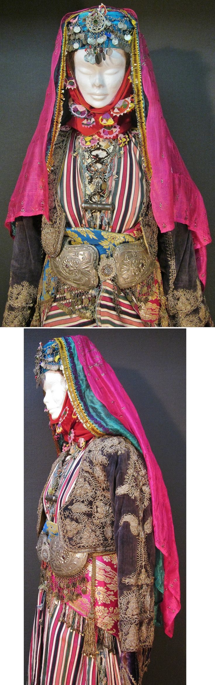 Close-ups of a bridal costume from the Aydın-Ödemiş area. Late-Ottoman, urban…
