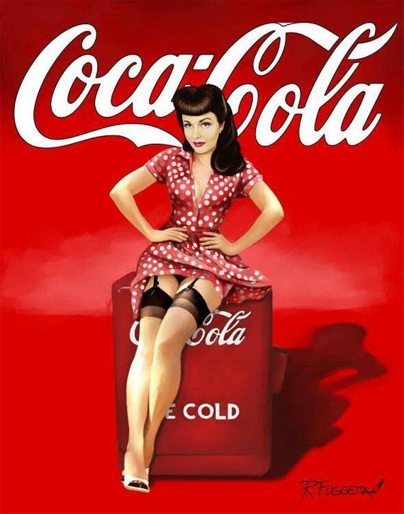 Vintage Coca-Cola Pin Up Girl Nostalgia Reproduction PrintThis Coca-Cola Pin Up Girl print is Perfect for the Mancave or Den, Decor or Home