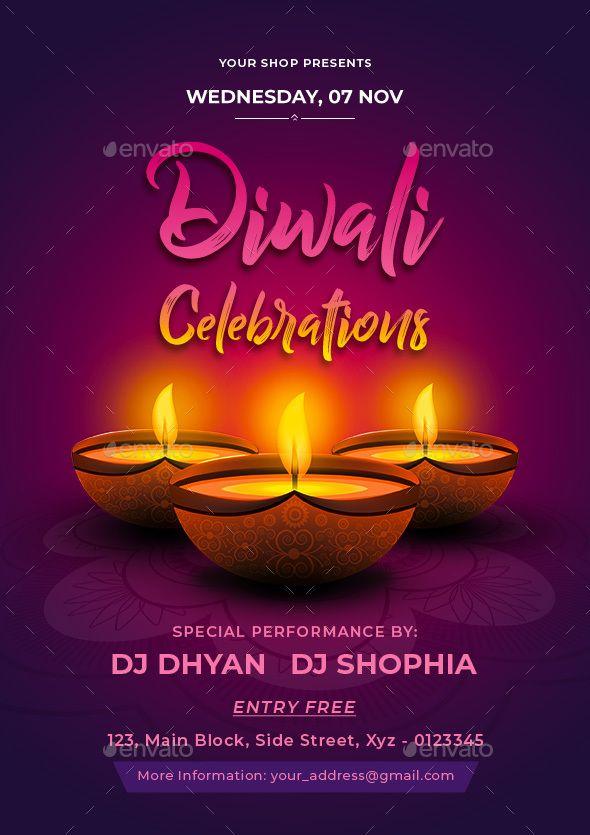 Diwali Celebrations Flyer Template Psd Easy Editable Text