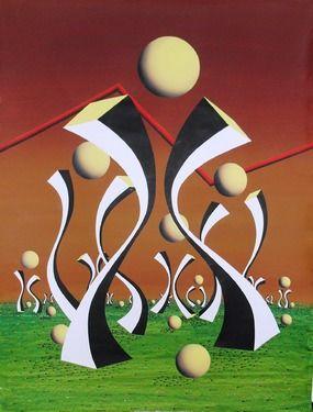 "Saatchi Online Artist A-K-RONA ART; Painting, ""Dancing bars among stars at nightfall"" #art"