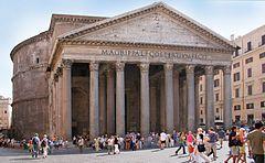 Panteon w Rzymie  miejsce poświęcone wszystkim bogom, to okrągła świątynia na Polu Marsowym, ufundowana przez cesarza Hadriana w roku 125 na miejscu wcześniejszej z 27 r. p.n.e., zniszczonej w pożarze w 80 r. n.e. Budową gmachu kierował Apollodoros, stracony później przez cesarza.