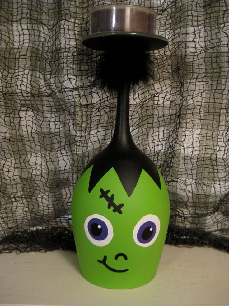 Cute Frankenstein Wine Glass Candle Holder. $12.00, via Etsy.
