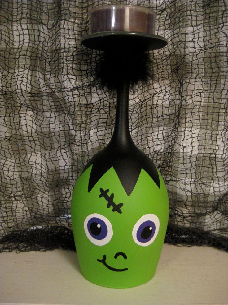 Cute Frankenstein Wine Glass Candle Holder. $12.00, via Etsy.