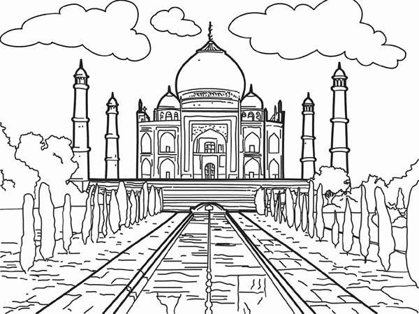 Taj Mahal Coloring Page Unique White Marble Mauseleom Of Taj Mahal Coloring Page Netart Taj Mahal Coloring Pages Colour Architecture