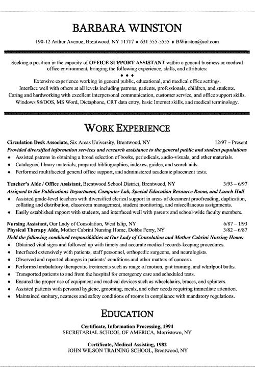 19 best RESUMES \ COVER LETTERS images on Pinterest Resume cover - nursing assistant resume samples