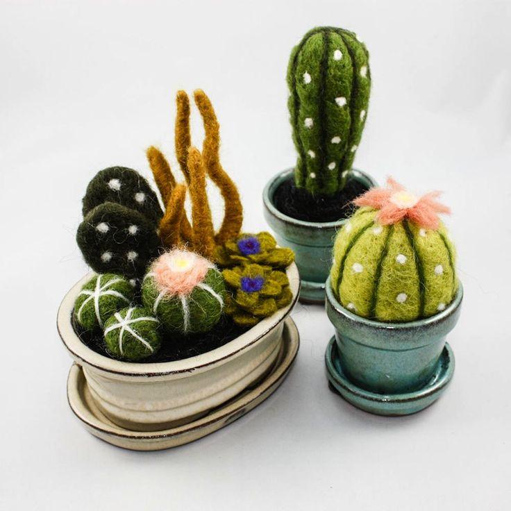 Once Again Sam felted cacti via BrownPaperBag