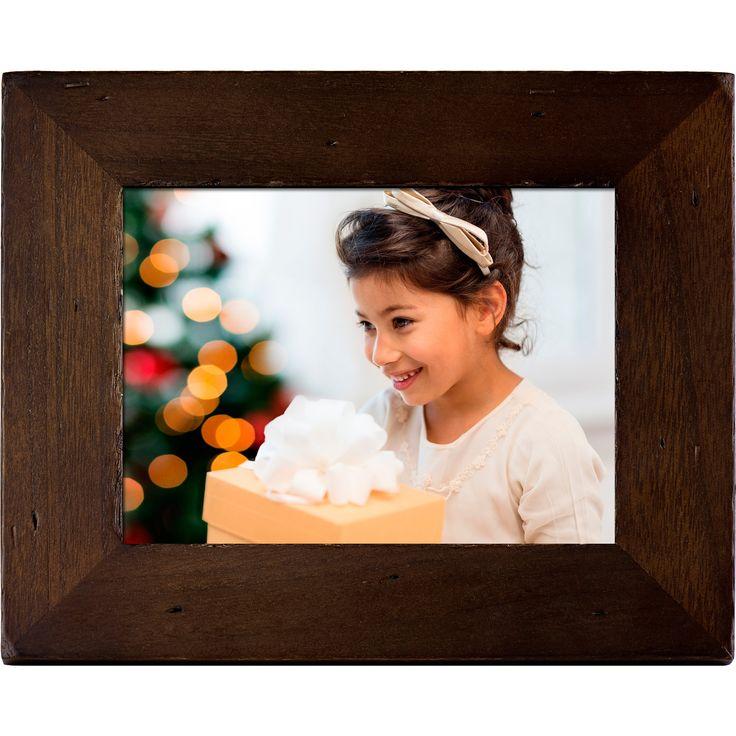 Polaroid 8 Digital Photo Frame - Candlenut Distressed Wood Frame, Silver